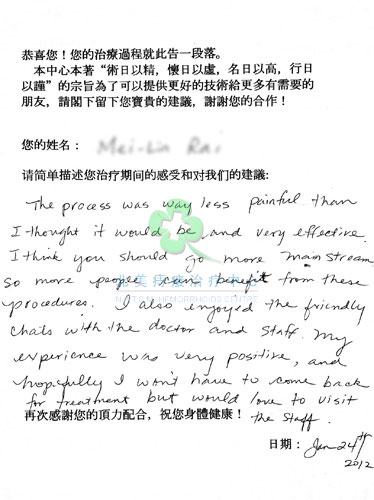 Patient leaving review about how painless and effective NA Hemorrhoids Clinic procedures are